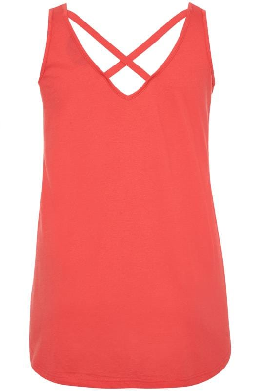Coral Pink Cross Back Vest Top