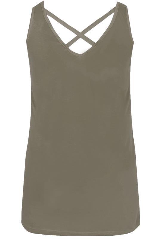 Khaki Cross Back Vest Top