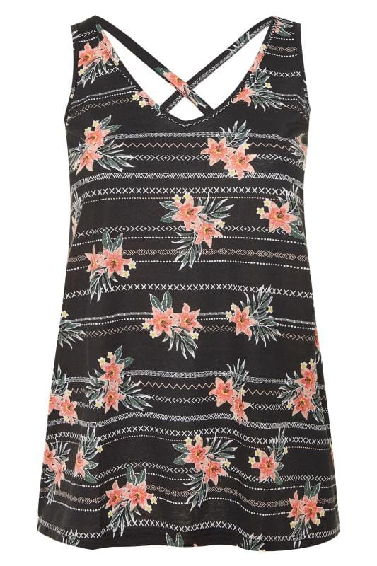 Black Tropical Print Cross Back Vest Top