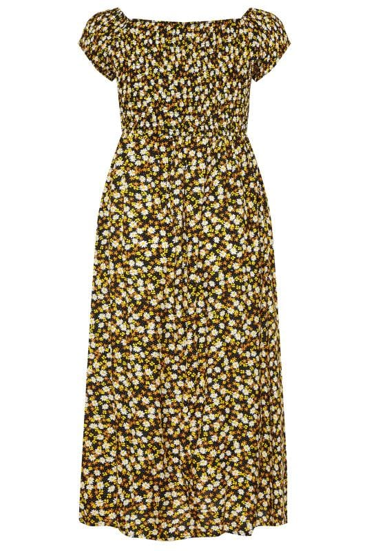 Black & Yellow Ditsy Floral Shirred Bardot Maxi Dress