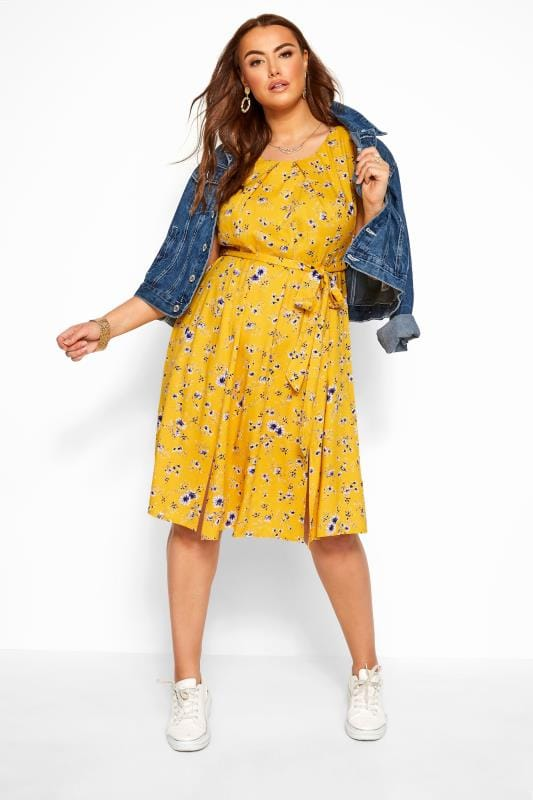 Plus Size Floral Dresses Yellow Floral Pleat Neck Dress