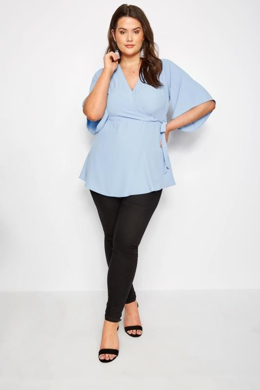 YOURS LONDON Baby Blue Wrap Blouse With Kimono Sleeves