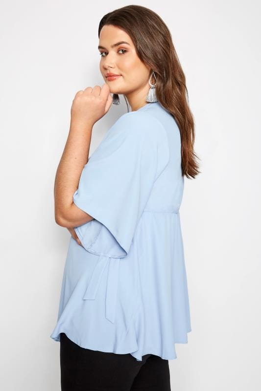 YOURS LONDON Wickelbluse - Puderblau