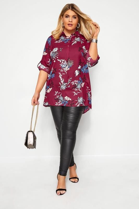 Plus Size Blouses & Shirts YOURS LONDON Berry Red Floral Chiffon Shirt
