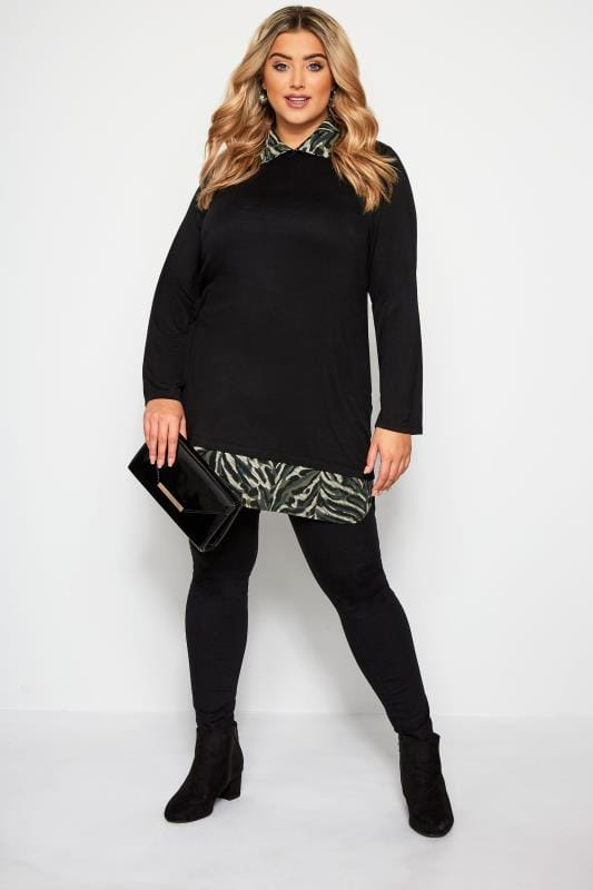YOURS LONDON Black & Animal Print 2 in 1 Top