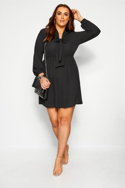 Plus Size Casual Dresses Black Bow Smock Tunic