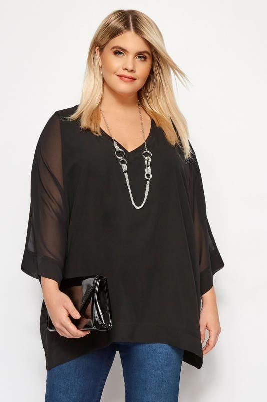 Большие размеры | Party Tops YOURS LONDON Black Chiffon Cape Top