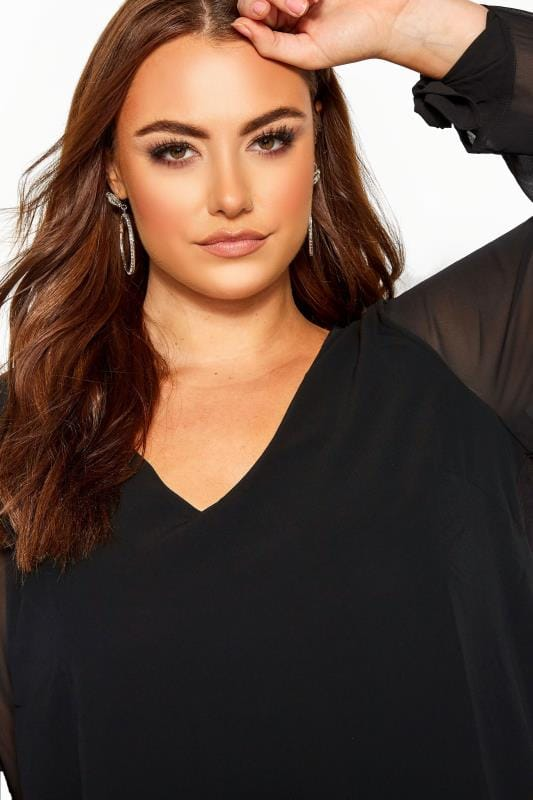 YOURS LONDON Black Chiffon Tie Sleeve Blouse