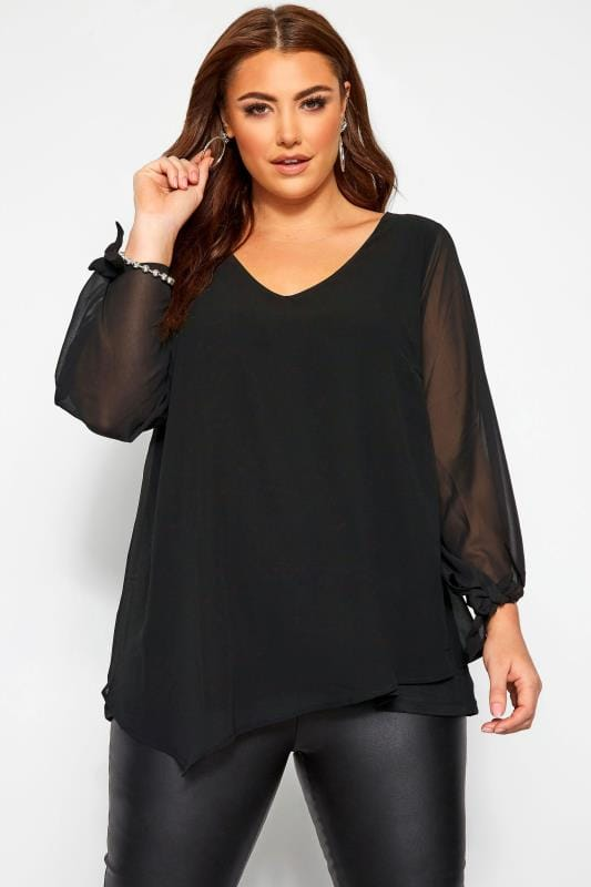 Plus Size Blouses YOURS LONDON Black Chiffon Tie Sleeve Blouse