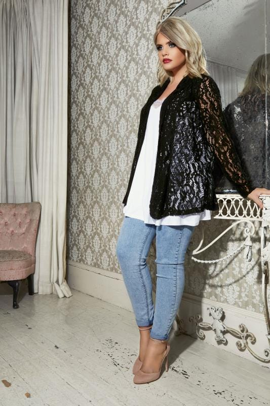 YOURS LONDON Black Corded Lace Jacket
