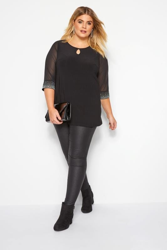 YOURS LONDON Black Diamante Blouse