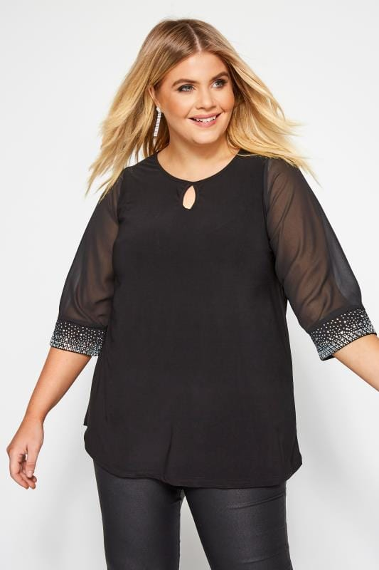 Plus Size Blouses YOURS LONDON Black Diamante Blouse
