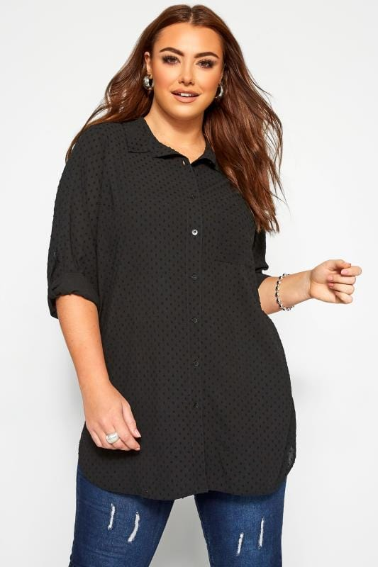 Plus Size Shirts YOURS LONDON Black Dobby Chiffon Shirt