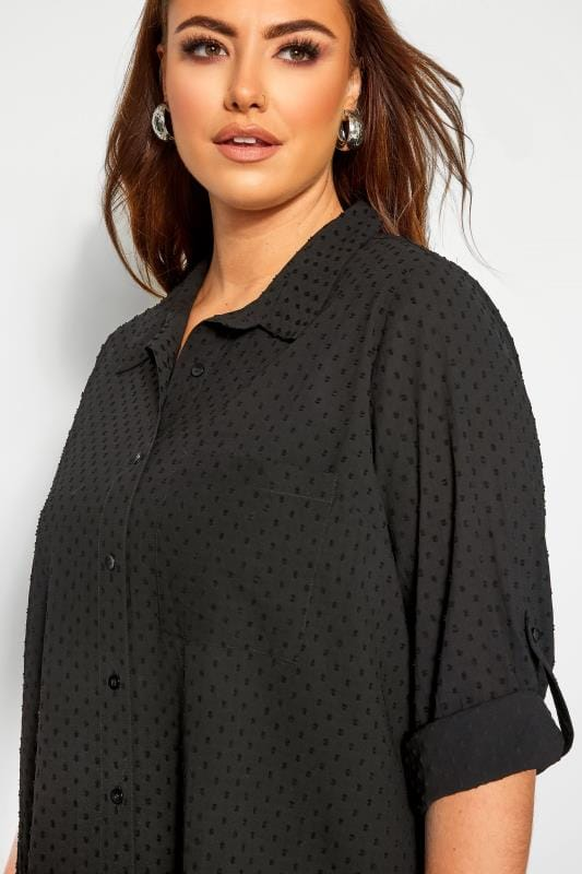 YOURS LONDON Black Dobby Chiffon Shirt