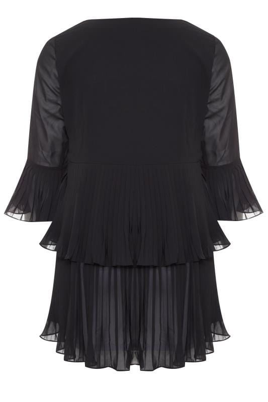YOURS LONDON Black Double Layer Pleated Blouse