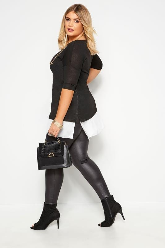 YOURS LONDON Black Double Layered Fine Knit Top
