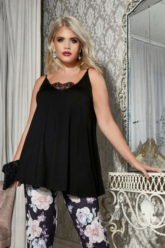 YOURS LONDON Black Eyelash Lace Cami Top