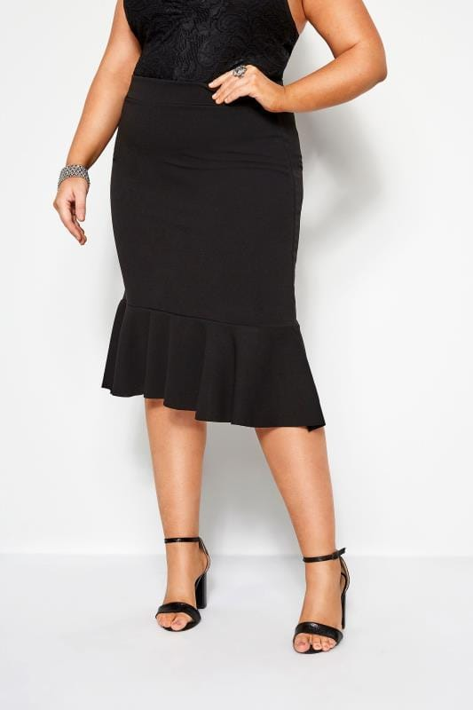 Plus-Größen Midi Skirts YOURS LONDON Black Fishtail Midi Skirt