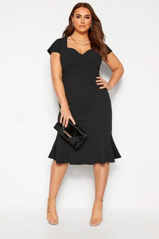 Plus-Größen Black Dresses YOURS LONDON Black Fishtail Scuba Dress