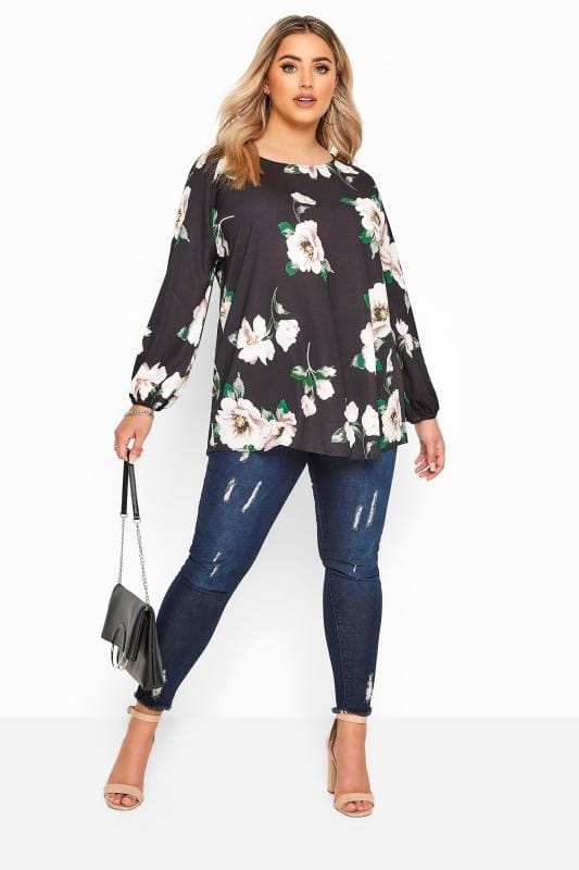 YOURS LONDON Black Floral Balloon Sleeve Blouse