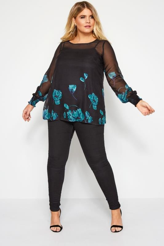 YOURS LONDON Black Floral Blouse