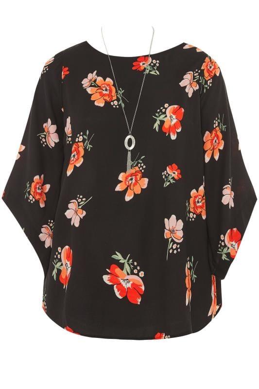YOURS LONDON Black Floral Cape Top
