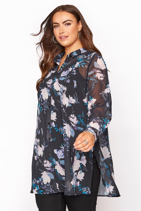 Plus Size  YOURS LONDON Black Floral Chiffon Blouse