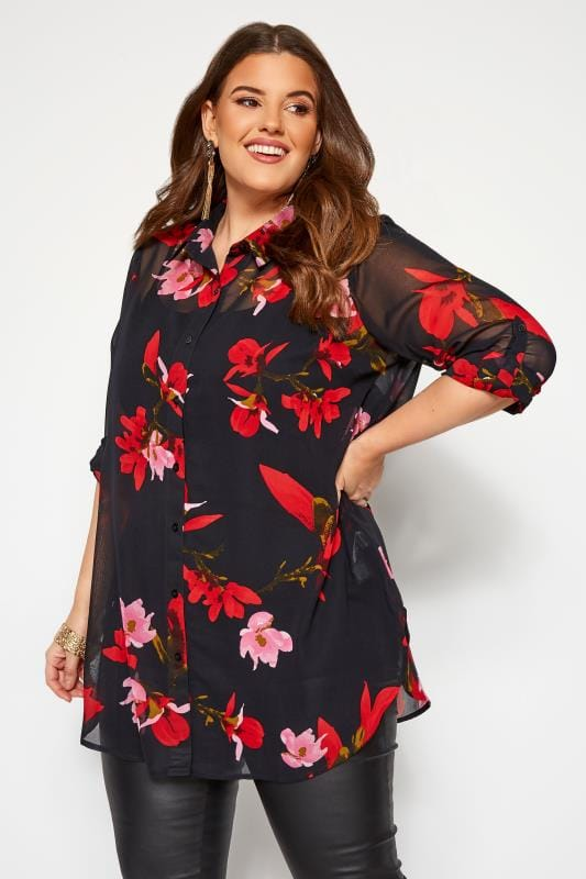 Plus Size Shirts YOURS LONDON Black Floral Chiffon Boyfriend Shirt