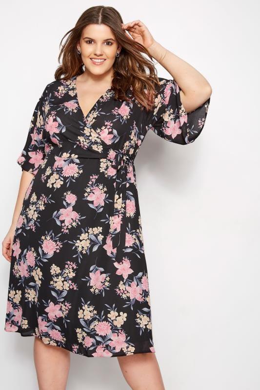 YOURS LONDON Czarna kopertowa sukienka w kwiaty