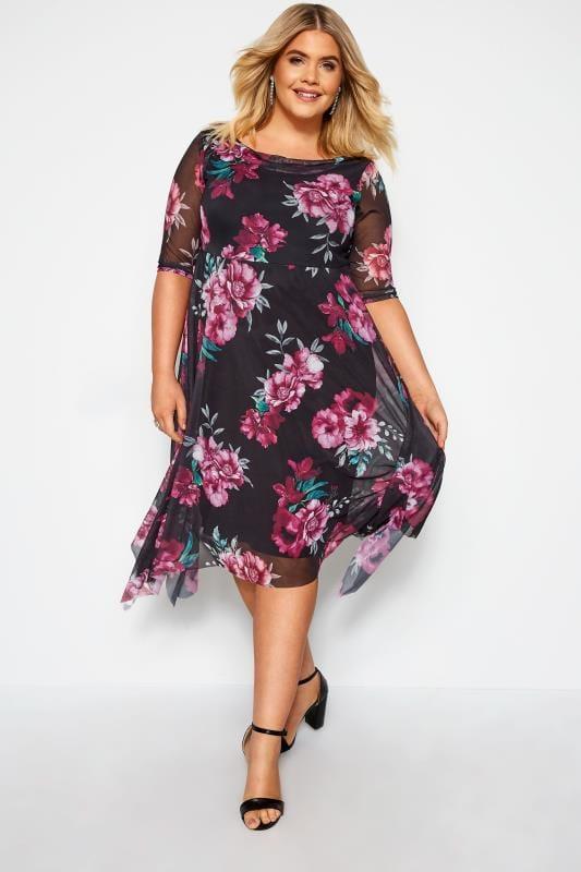 Plus Size Floral Dresses YOURS LONDON Black Floral Cowl Neck Dress