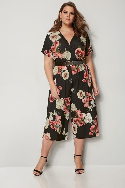 Plus Size Jumpsuits Black Floral Culotte Jumpsuit