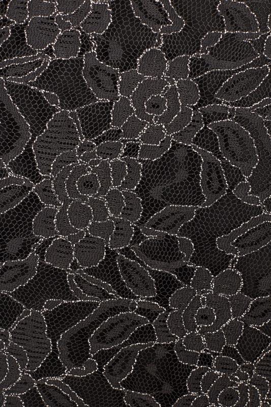 YOURS LONDON Czarna sukienka maxi z koronkową górą, duże