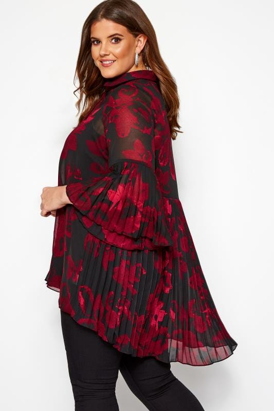 Plus Size Blouses YOURS LONDON Black Floral Pleated Longline Shirt