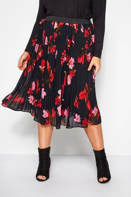 Plus Size Pleated Skirts YOURS LONDON Black Floral Pleated Midi Skirt