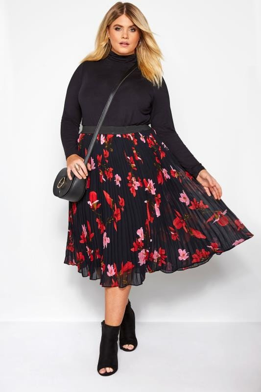 Pleated Skirts YOURS LONDON Black Floral Pleated Midi Skirt