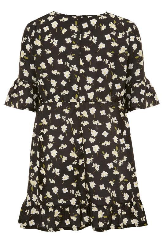 YOURS LONDON Tunika-Kleid mit Rüschen - Schwarz/Weiß