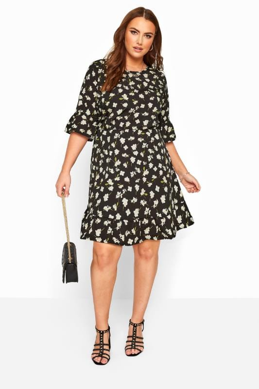 YOURS LONDON Black Floral Ruffle Smock Tunic