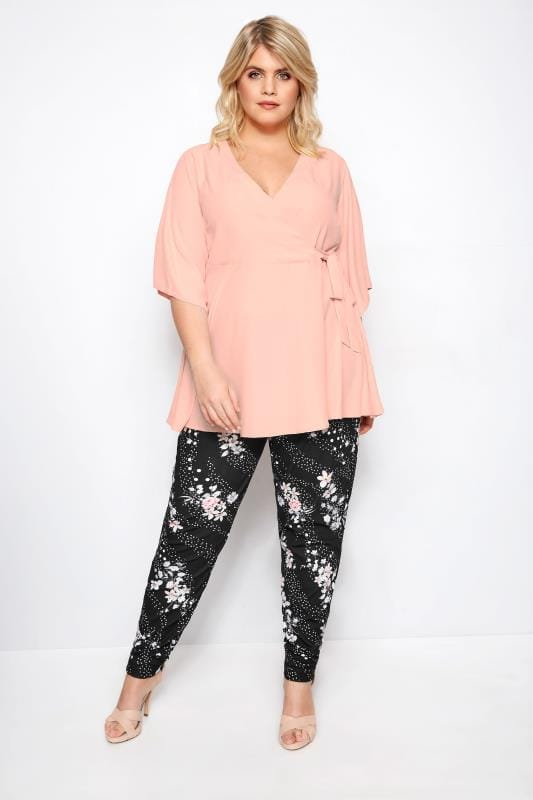 YOURS LONDON Black Floral & Spot Tapered Trousers