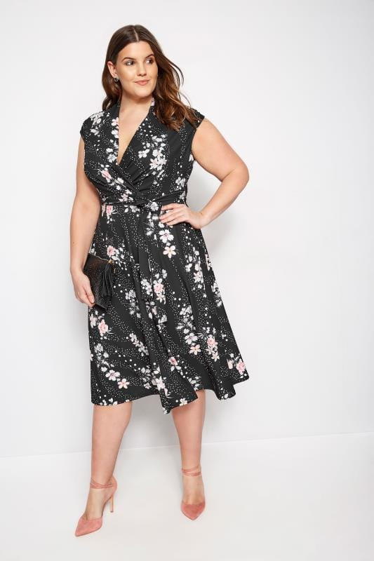 YOURS LONDON Black Floral Spot Wrap Skater Dress