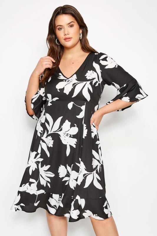 Plus Size Skater Dresses YOURS LONDON Black Floral Tea Dress