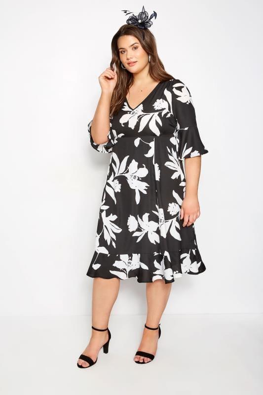 YOURS LONDON Black Floral Tea Dress