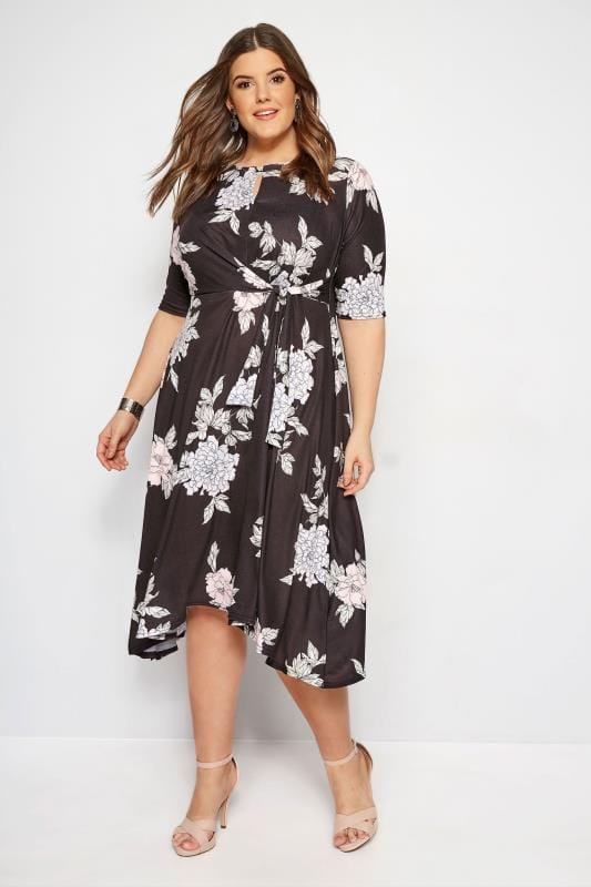 Plus Size Sleeved Dresses YOURS LONDON Black Floral Tie Front Dress