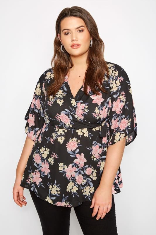 YOURS LONDON Black Floral Wrap Blouse With Kimono Sleeves