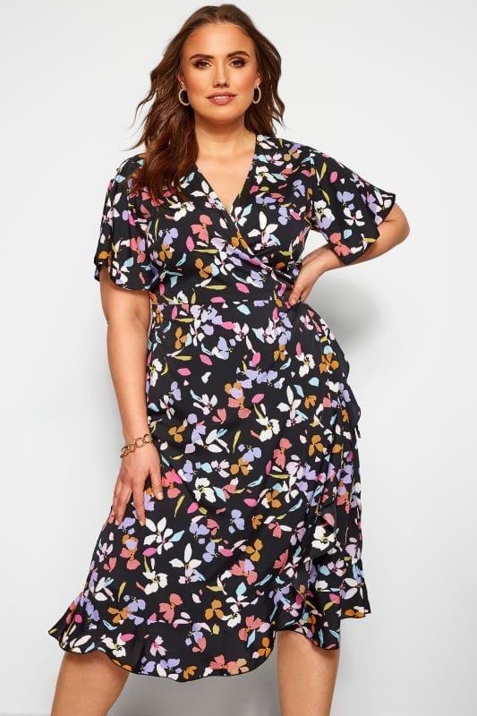 Floral Dresses Grande Taille YOURS LONDON Black Floral Wrap Dress