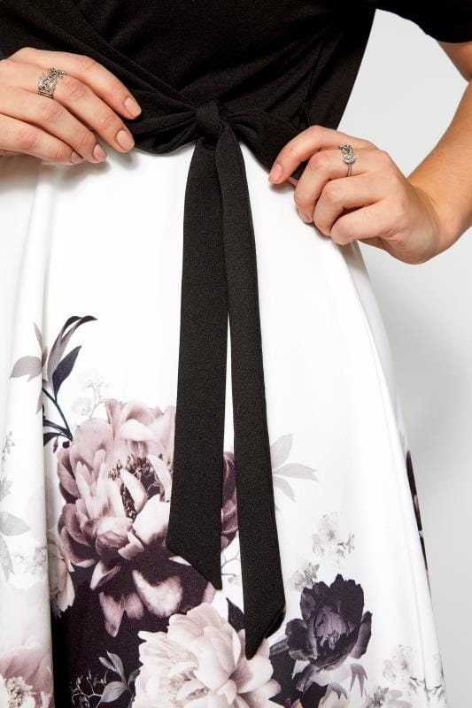 YOURS LONDON Black Floral  Wrap Front Skater Dress