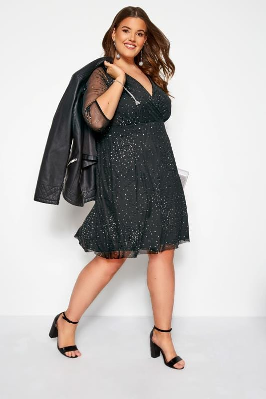 Plus Size Black Dresses YOURS LONDON Black Glitter Wrap Dress