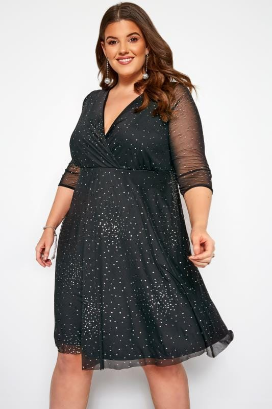 YOURS LONDON Black Glitter Wrap Dress