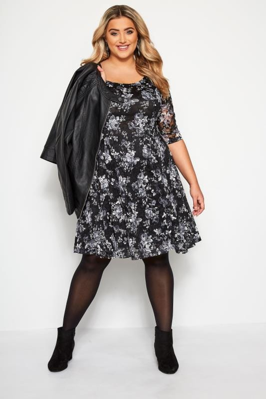 YOURS LONDON Black & Grey Floral Print Lace Skater Dress