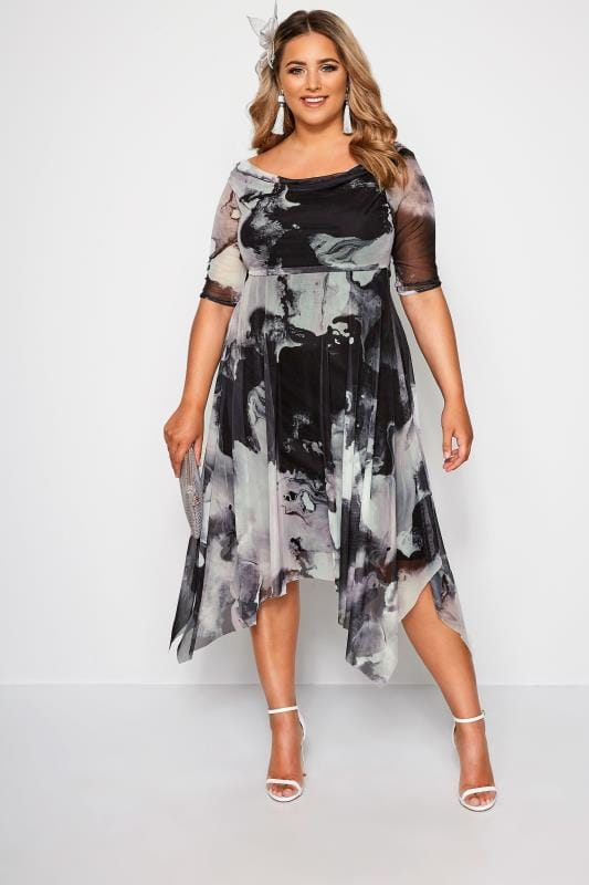 YOURS LONDON Black & Grey Marble Midi Dress With Cowl Neck