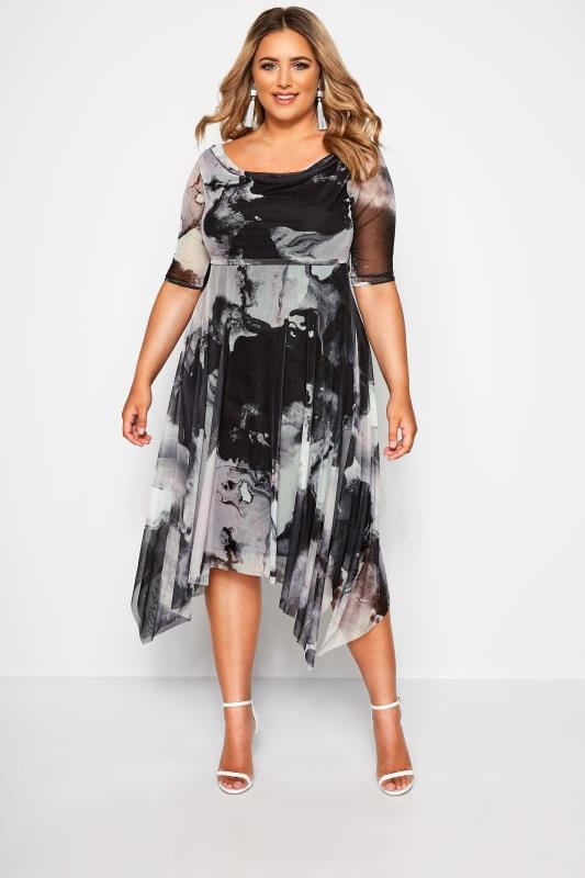 Plus Size Midi Dresses YOURS LONDON Black & Grey Marble Midi Dress With Cowl Neck